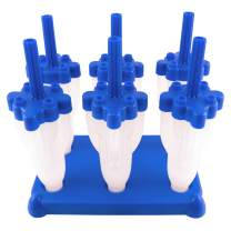 Tovolo Rocket Ice Pop Mold Popsicle Maker, Drip-Guard, Sturdy Stand Base, 2.5 Fluid Oz, Set of 6, Blue