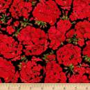 Timeless Treasures Black Front Porch Allover Geraniums Fabric by The Yard