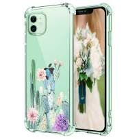 """Hepix Cactus iPhone 11 Case Cute Cacti Flowers Clear iPhone 11 Cases for Girls Women, Slim Flexible TPU with 4 Protective Corners Anti-Scratch Rasied Lip Shock Absorbing for iPhone 11(2019) 6.1"""""""