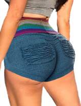 SEASUM Women Workout Gym Shorts Scrunch Ruched Butt Lifting Booty Shorts High Waist Fitness Lounge Hot Shorts