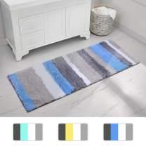 Buganda Non-Slip Bathroom Rug Water Absorbent Soft Microfiber Shaggy Bath Mat Machine Washable Bath Rug for Bathroom (17 x 47 Inches, Blue/Grey)