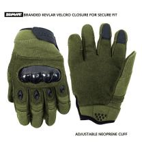 Zephyr Tactical Full Finger Carbon Fiber Knuckle Gloves w/Touchscreen Technology