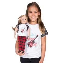 """Maplelea Rockin' Couture Outfit for 18"""" Dolls with Rock'n'Roll t-Shirt, Plaid Pants fits American Girl"""