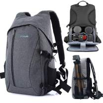 Photographer Backpack DSLR Camera Backpack with Rain Cover Multi-Pocket Large Capacity Waterproof Anti-Theft Tripod Holder for Outdoor Travel Daily Use (Grey)