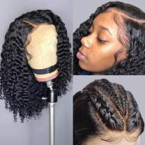 Jessica Hair Fake Scalp Wigs 13x6 Lace Front Wigs Human Hair Wigs Curly Wigs For Black Women Brazilian Virgin Hair Pre-Plucked Hairline With Baby Hair(8 Inch with 150% Density)