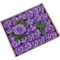 DerBlue 60pcs Artificial Roses Flowers Real Looking Fake Roses Artificial Foam Roses Decoration DIY for Wedding Bouquets,Arrangements Party Baby Shower Home Decorations-with Green Leaves(Purple)