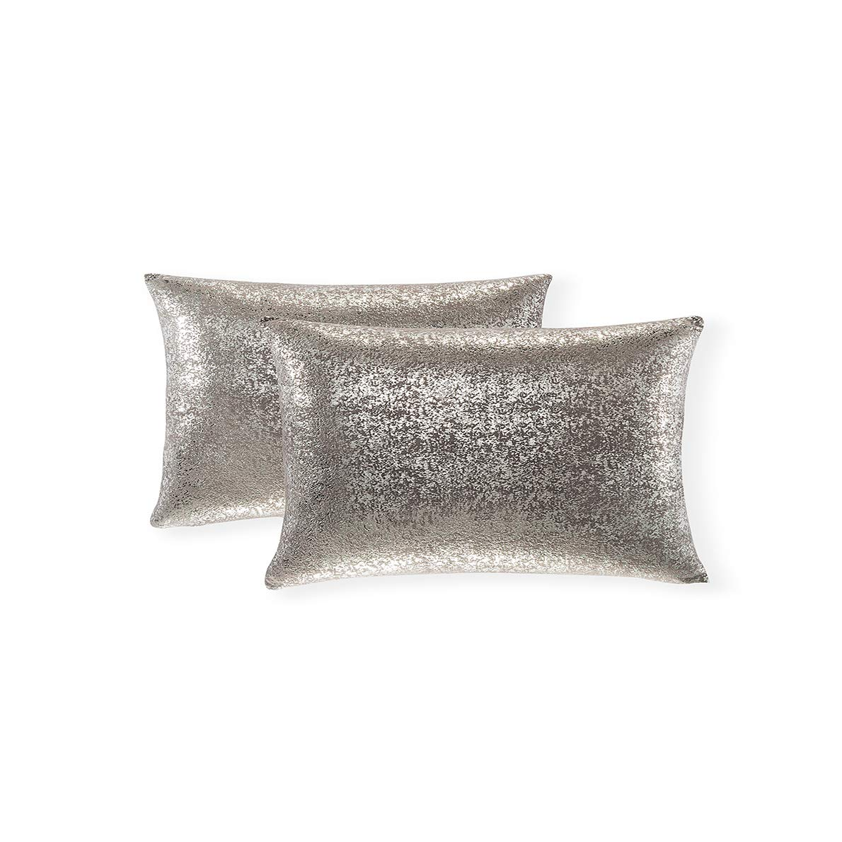 Xinrjojo Sparkling Decorative Pillow Cases, Silver Grey Pillows, 12x20 inch Pillow Covers, for Home Sofa Couch Chair Back Seat Bedroom Car, Starry 2 Pack (Silver- Dark Gray)
