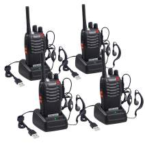 Proster Rechargeable Walkie Talkies Kids 16 Channel Two Way Radios with USB Charger Earpiece Mic Walky Talky 2-Way Radio Transceiver Long Range 2 Pair