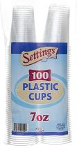 [100 Count - 7 Oz Cups] Settings Clear Disposable Plastic Drinking Cups Great For Juice, Water, Soda, Beer, Use At Party, Home, Office, Picnic, BBQ, Or Event, 1 Pack