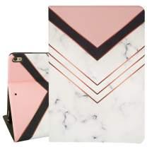 Hi Space iPad 10.5 Case White Marble iPad Air 3 Case 2019, Pink Black Stripes iPad Pro Case 10.5, Folio Stand Smart Case Cover for iPad A2152 A2123 A2153 A2154 A1701 A1709 Auto Sleep Wakeup