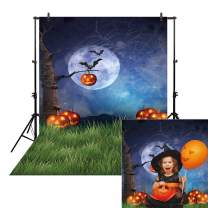Allenjoy 6x8ft Night Halloween Themed Backdrop for Photography Fall Pumpkin Green Grass Children Newborn Portrait Background Party Birthday Banner Baby Shower Decorations Decor Photo Booth Shoot Props