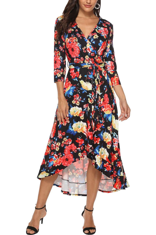 Kranda Women 3/4 Sleeve V Neck Floral Flowy Front Slit High Low Asymmetrical Floral Maxi Dress