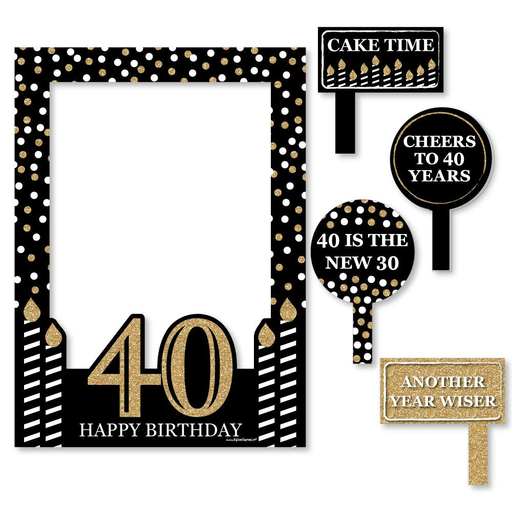 Big Dot of Happiness Adult 40th Birthday - Gold - Birthday Party Selfie Photo Booth Picture Frame & Props - Printed on Sturdy Material