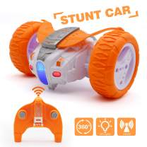 QUN FENG Remote Control Car RC Car for Kids 2.4Ghz Off Road Race Stunt Cars RC Toys 360°Spin Bounce Car Gifts for Boys Girls 6 7 8 9 10 12 Years Small Size, Orange