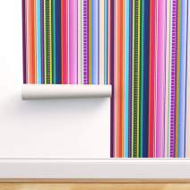 Removable Water-Activated Wallpaper - Serape Serape Mexican Mexican Inspired Mexico Mexican Stripe Colorful Stripes by Theartwerks - 24in x 72in Smooth Textured Water-Activated Wallpaper Roll