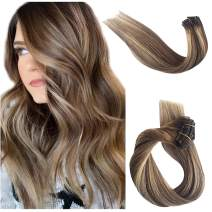 Clip in Human Hair Extensions Ombre Balayage Real Remy Hair Extensions Clip on Chestnut Brown with Beige Blonde Highlights for Women Double Weft Soft Silky Straight Glueless 70g 7pcs 16 Clips 22 Inch