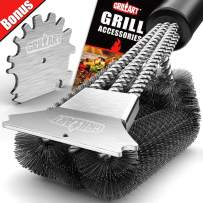 GRILLART Grill Brush and Scraper 18 Inch | Wire Bristle Brush Double Scrapers | Best Barbecue Cleaning Brush for Weber & All Gas/Charcoal Grilling Grates | Universal Fit BBQ Grill Accessories