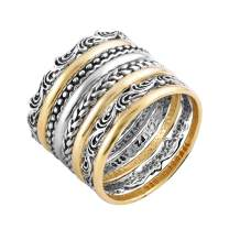 PZ Paz Creations 925 Sterling Silver 8 Pcs Bohemian Stacking Rings Set for Women