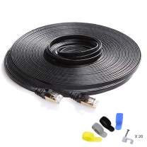 CableGeeker Cat7 Shielded Ethernet Cable 100ft (Highest Speed Cable) Flat Ethernet Patch Cable Support Cat5/Cat6 Network,600Mhz,10Gbps - Black Computer Cord + Free Clips and Straps for Router Xbox