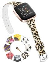 ACBEE Compatible with Fitbit Versa Bands for Women Small Large, Slim Narrow Floral Print Replacement Silicone Strap for Fitbit Versa 2 / Versa Lite/Versa Special Edition/Versa (Cheetah, Large)