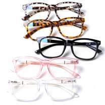5 Pack Blue Light Blocking Reading Glasses Fashion Square Computer Glasses Women Men Comfort Reading Gaming TV Glasses