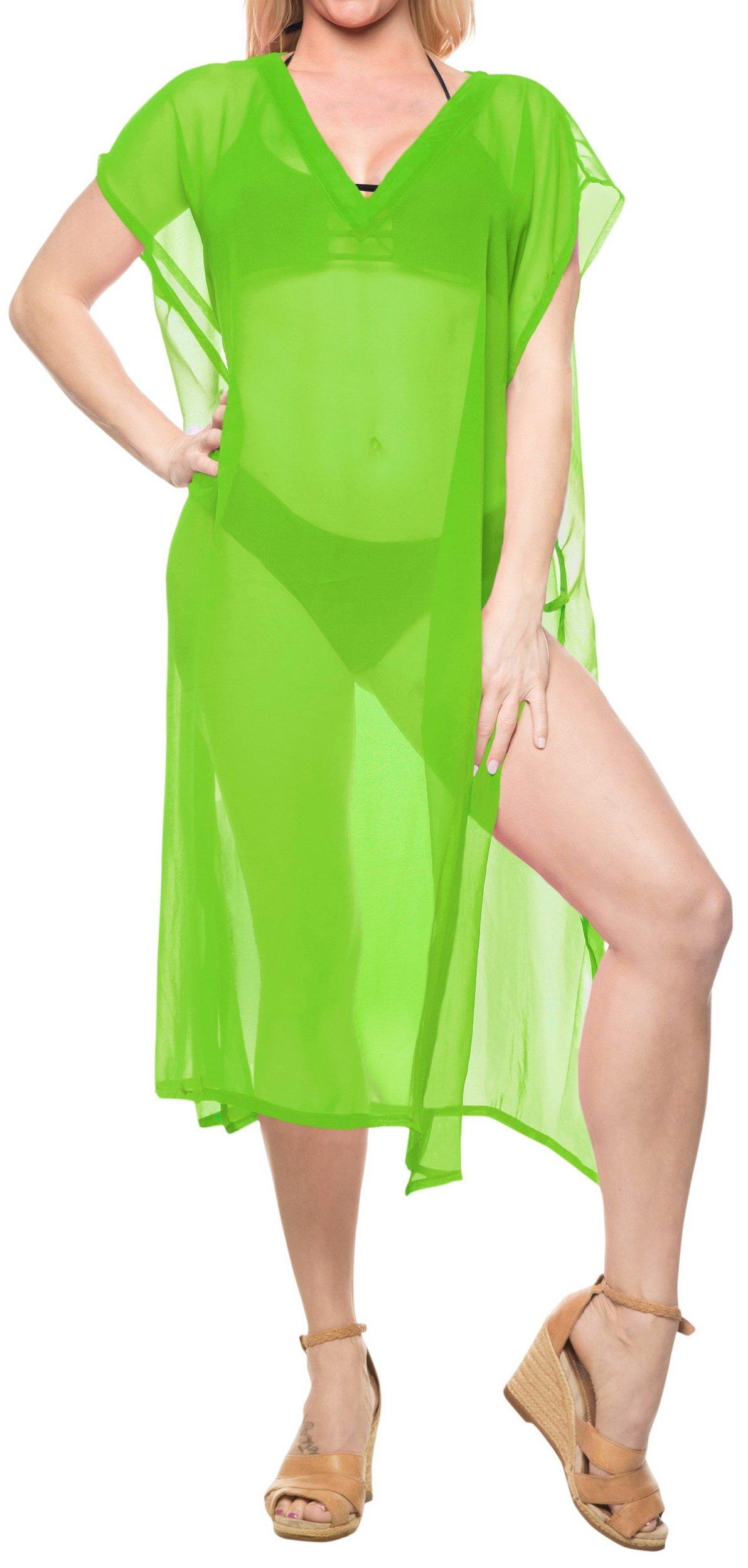 LA LEELA Women's Swimsuit Bikini Stylish Beach Cover Up Kaftan Solid Plain A