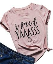 Letter Print T Shirt Women I Said Yaass Casual Short Sleeve Tshirt Top