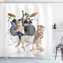"""Ambesonne Animal Shower Curtain, Cool Fancy Hard Cute Rocker Band of Kittens with Singer Guitarist Cats Artwork Print, Cloth Fabric Bathroom Decor Set with Hooks, 84"""" Long Extra, White Beige"""