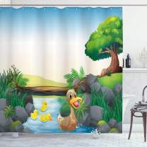 """Ambesonne Rubber Duck Shower Curtain, Cartoon Mother and Ducklings River Kids Fun Farm Animals Print Outdoor Feathers, Cloth Fabric Bathroom Decor Set with Hooks, 70"""" Long, Blue Green"""