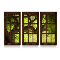 Startonight Canvas Wall Art Window to a Fresh Morning - Nature Framed Wall Art 32 by 48 inches Set of 3