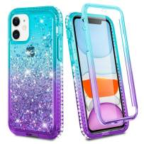 Ruky iPhone 11 Case, iPhone 11 Glitter Case Full Body Rugged Liquid Cover with Built-in Screen Protector Shockproof Protective Phone Case for iPhone 11 6.1 inches 2019 (Aqua)