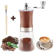 Manual Coffee Grinder with Soft Brush, Pococina Hand Grinder Ceramic Conical Burr Mill Hand Crank Coffee Bean Grinder for Home Office Travel Camping