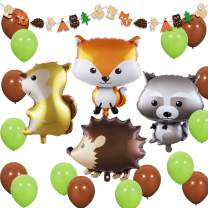 JOYMEMO Woodland Creatures - Forest Animal Party Decorations Woodland Creatures Balloons and Garland for Baby Shower, Birthday Decorations
