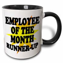 3dRose Employee Of The Month Runner-Up Two Tone Mug, 11 oz, Black
