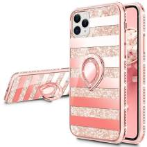 VEGO Compatible for iPhone 11 Pro Case with Ring Holder, Glitter Case with Kickstand for Women Girls Bling Diamond Rhinestone Sparkly Bumper Fashion Cute Protective Fancy Stand Case(Stripe Rosegold)