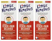 Little Remedies Children's Fever & Pain Reliever | Natural Grape Flavor | 4 FL OZ | 3 Pack