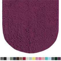 Gorilla Grip Original Luxury Chenille Oval Bath Rug Mat, 42x24, Extra Soft and Absorbent Large Shaggy Bathroom Rugs, Machine Wash Dry, Plush Carpet Mats for Tub, Shower, and Bath Room, Eggplant