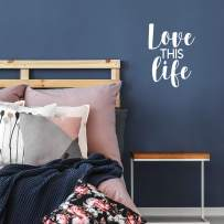 """Printique Vinyl Wall Art Decal - Love This Life - 22"""" x 16"""" - Moderns Motivational Good Vibes Quote Sticker for Home Bedroom Playroom Living Room Office Coffee Shop Store Decor (White)"""