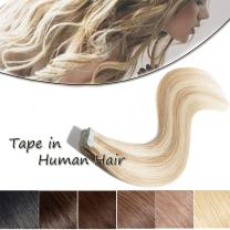 Highlighted Remy Tape in Human Hair Extensions 24 inch Ash Blonde mixed Bleach Blonde Long Straight Skin Weft Invisible Double Sided Tape +10pcs Replacement Tapes(#18-613,20pcs 50g)