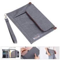 BTSKY Portfolio File Folder A5 Documents Bag Files Organizer Business Card Holder Stationery Bag Book & Bible Cover Briefcase Waterproof with Removal Handle Strap Easy to Carry Grey