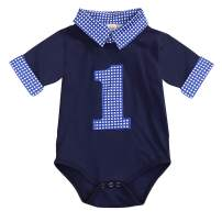 Baby Boy First Birthday Clothes Plaid Stand Collar Long Sleeve Romper Jumpsuit Cake Smash Outfit