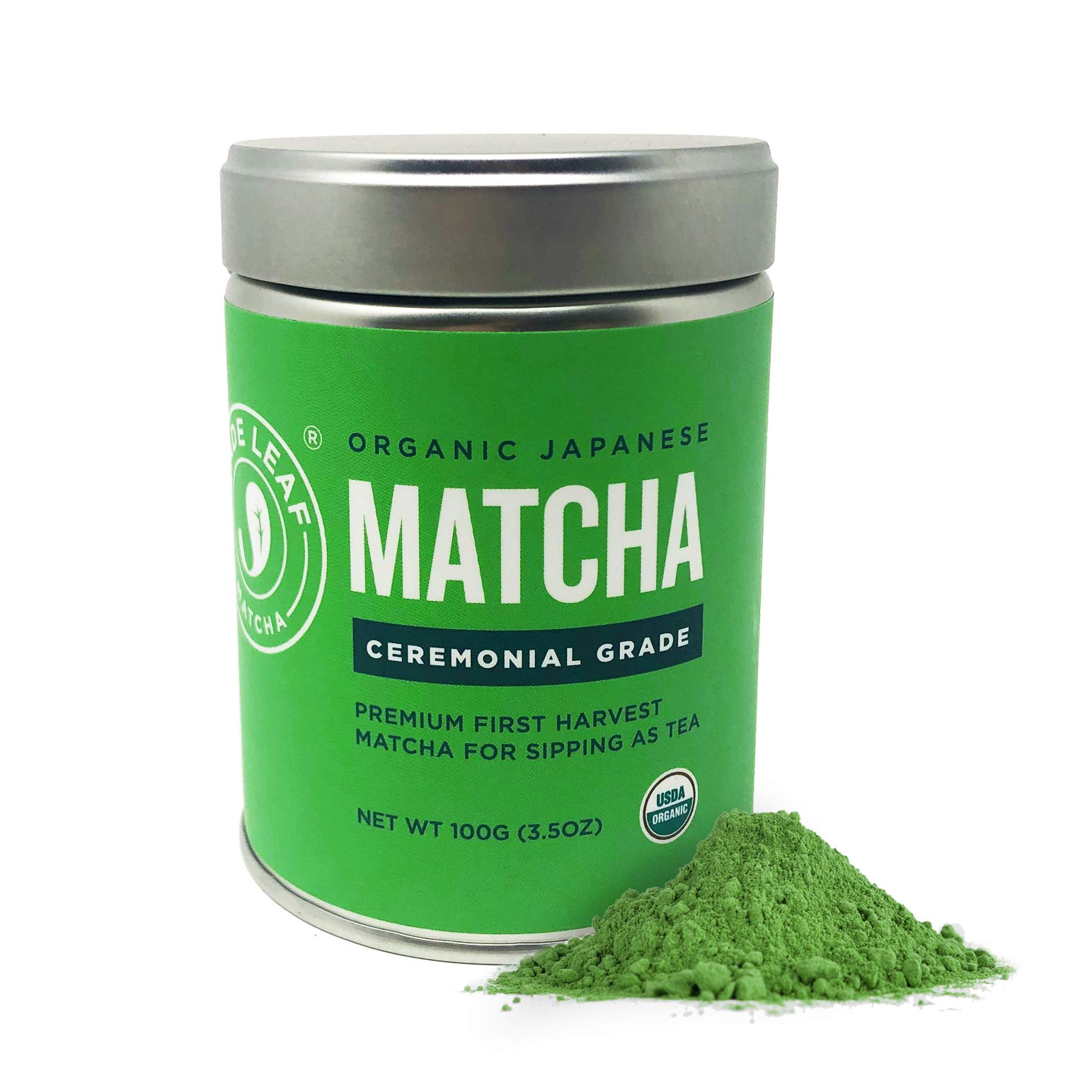 Jade Leaf Organic Ceremonial Grade Matcha Green Tea Powder - Authentic Japanese Origin - Premium 1st Harvest [3.53oz Tin]