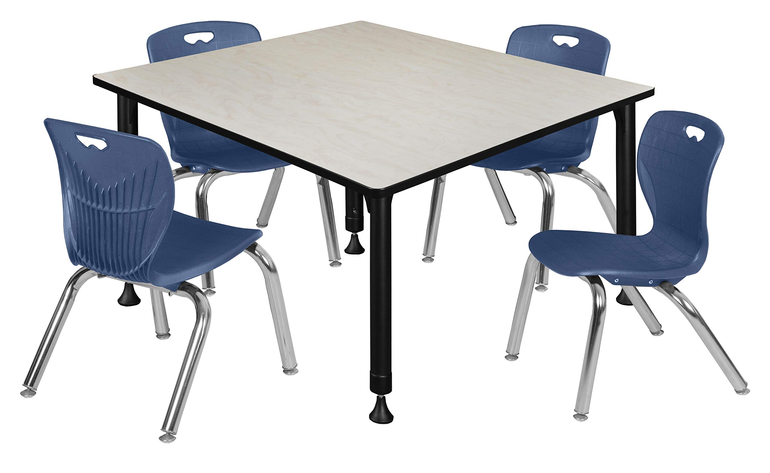 "Regency Kee Height Adjustable Classroom Table Set with four 12""Andy Chairs, 48"", Maple/Navy"