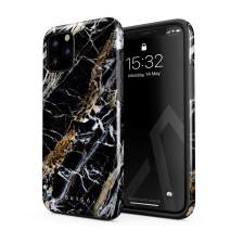 BURGA Phone Case Compatible with iPhone 11 PRO - Black and Gold Onyx Marble Golden Stone Cute Case for Women Heavy Duty Shockproof Dual Layer Hard Shell + Silicone Protective Cover