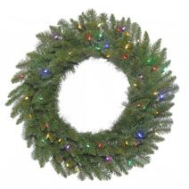 """Vickerman Durango Spruce Artificial Wreath with 200 Multi-Colored LED Lights, 48"""""""