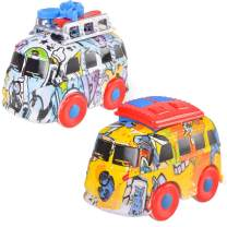 Graffiti Diecast Car Toys,Friction Powered Push and Go Metal Vehicles Toy for Aged 3 4 5 6 Boys and Girls,Kids Party Favors Gifts