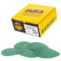 "Dura-Gold - Premium Hook & loop - 220 Grit 5"" Green Film - Hook & Loop Sanding Discs for DA Sanders - Box of 50 Sandpaper Finishing Discs for Automotive and Woodworking"