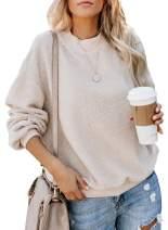 Women's Casual Fuzzy Pullover Sweatshirt Teddy Bear Sweater Crewneck Long Sleeve Outwear Solid Sherpa Fleece Coat Top
