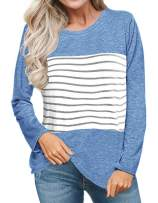 Sanifer Women's Casual Long Sleeve Color Block Striped T Shirts Tunic Tops Blouses