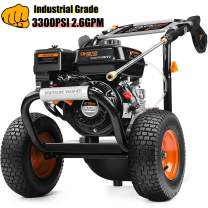TACKLIFE Gas Pressure Washer 3300PSI 2.6GPM, 120V, 83.8lbs, 1gal Gas, 1gal Soap Box, 30ft Bold Pipe, 12in Big Wheels, Muti-Use, for Cleaning Car, Patio, Wall,GSW01A, Delivered time Within 10-15 Days